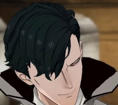 Hubert von Vestra from Fire Emblem looking down and to the side